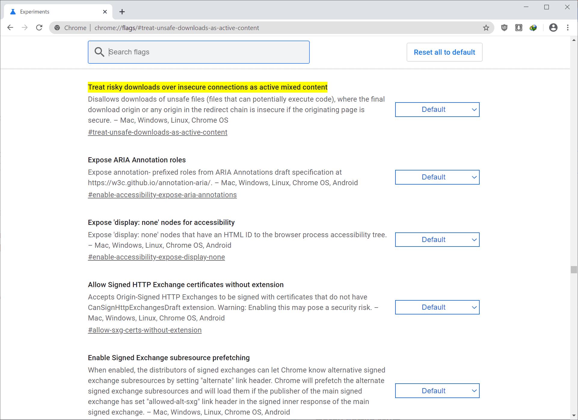 descargas inseguras de Chrome