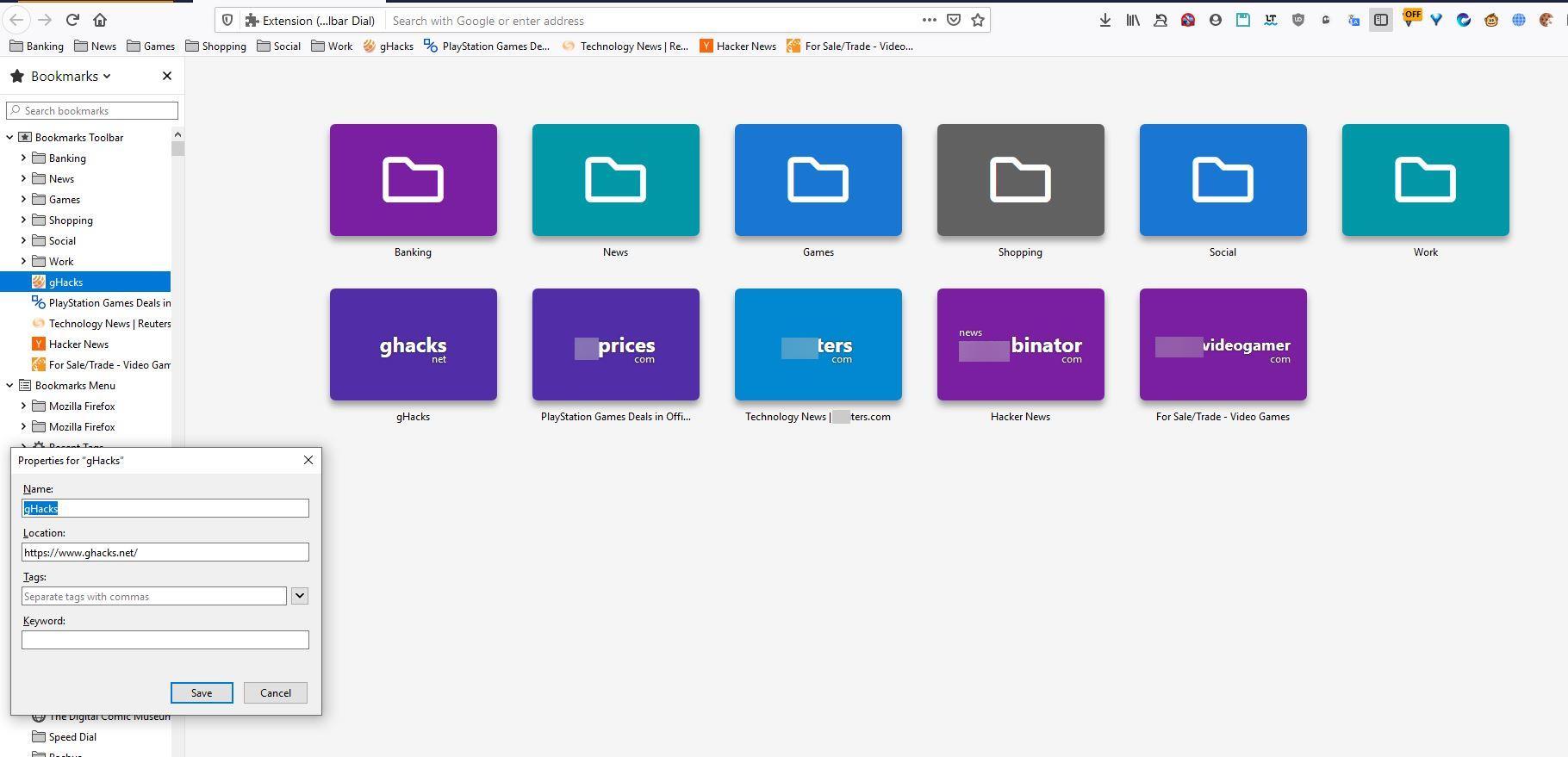 Marcación de la barra de herramientas de Firefox y Chrome
