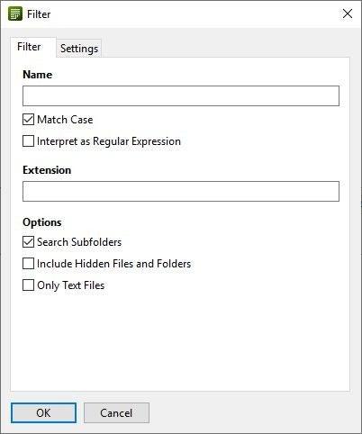 FilelistCreador de filtros
