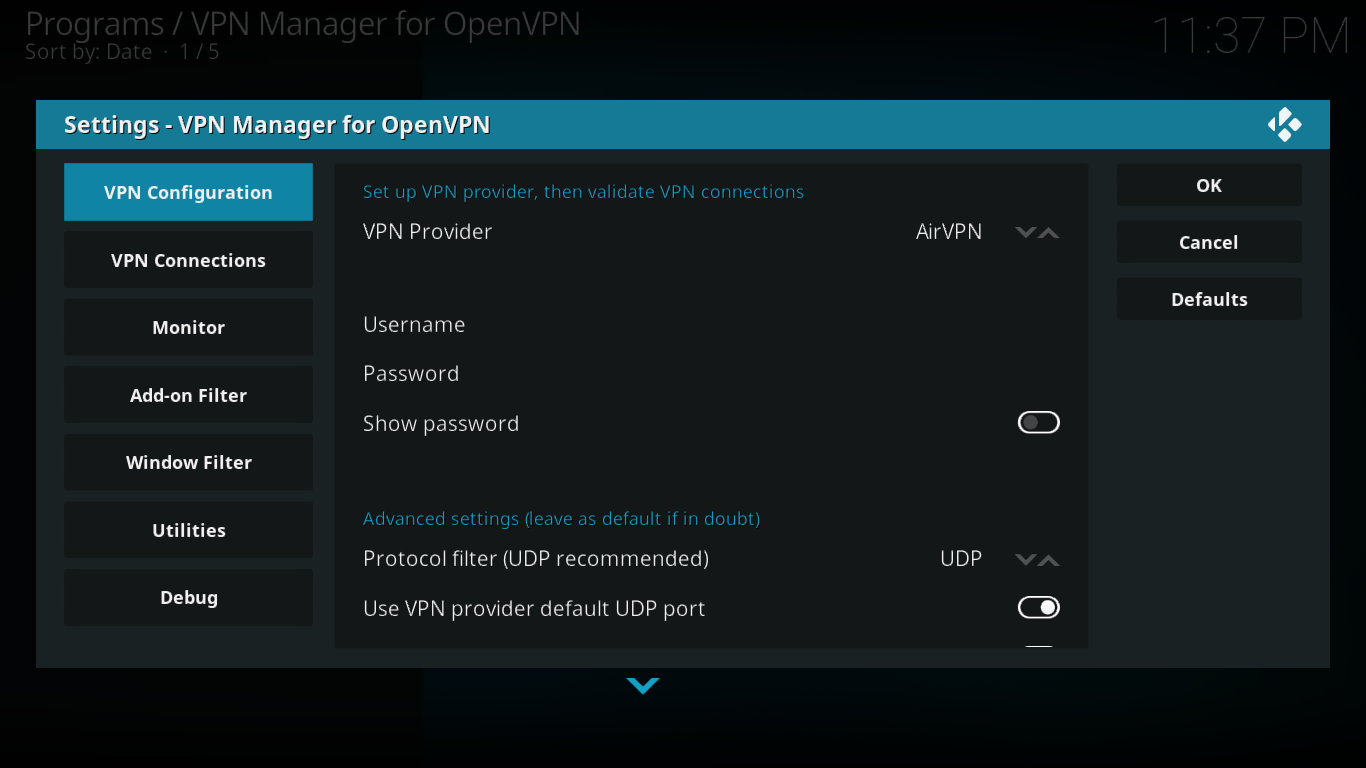 VPN Manager Configuration