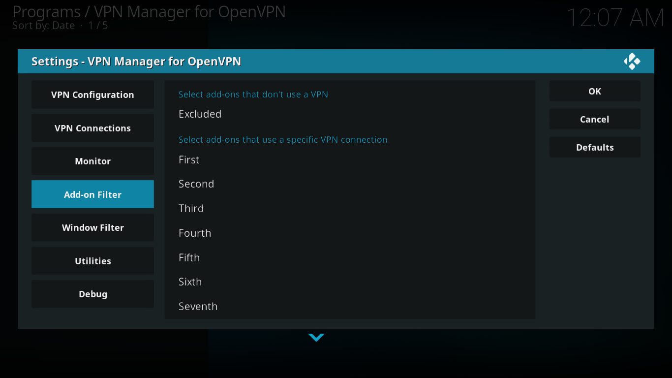 VPN Manager Add-on Filter