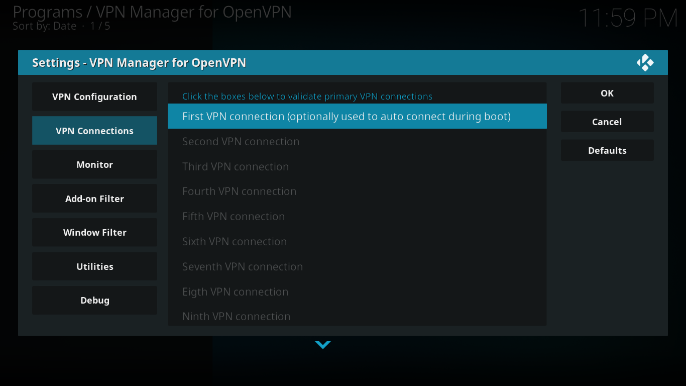VPN Manager Connections