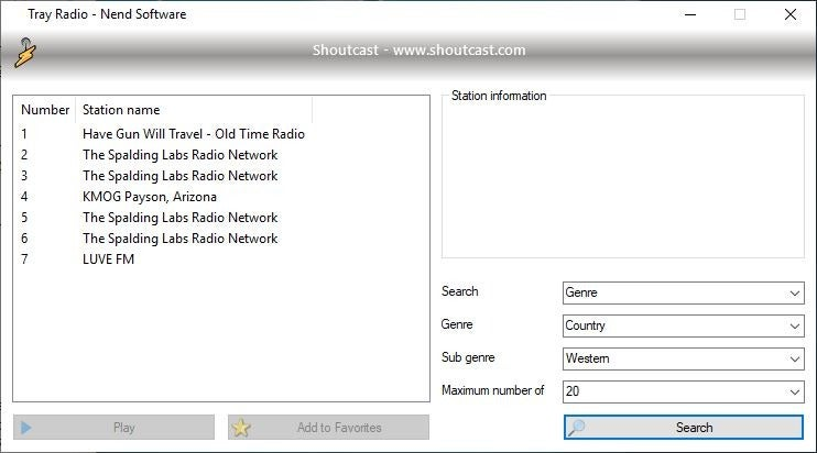 Tray Radio Shoutcast Search 2