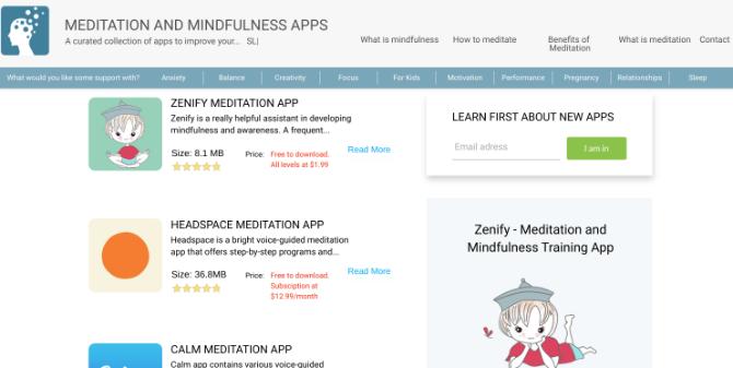 MeditationApps.com agrega las mejores aplicaciones de meditación y revela su verdadero precio a partir de las suscripciones y compras adicionales