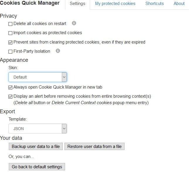 Configuración del administrador rápido de cookies
