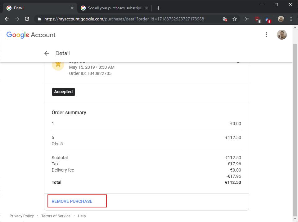 gmail eliminar las compras