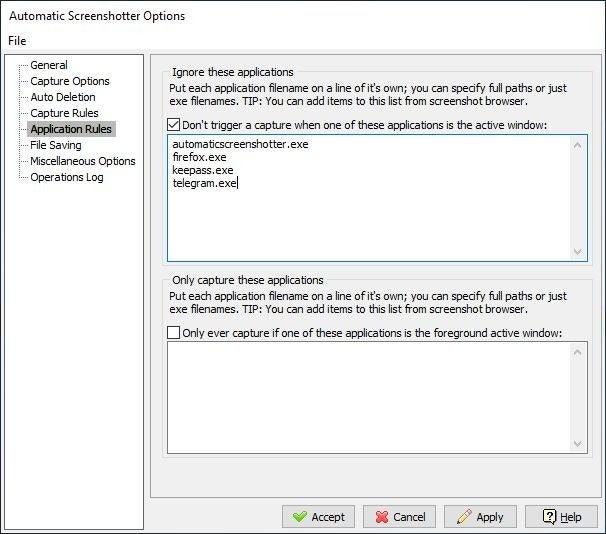 Configuración del capturador de pantalla automático