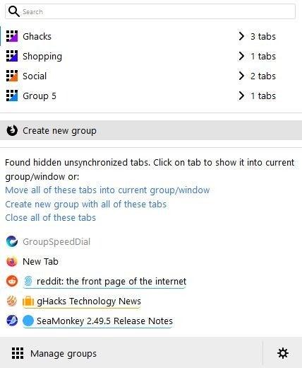 grupos de pestañas simples - mostrar otras pestañas