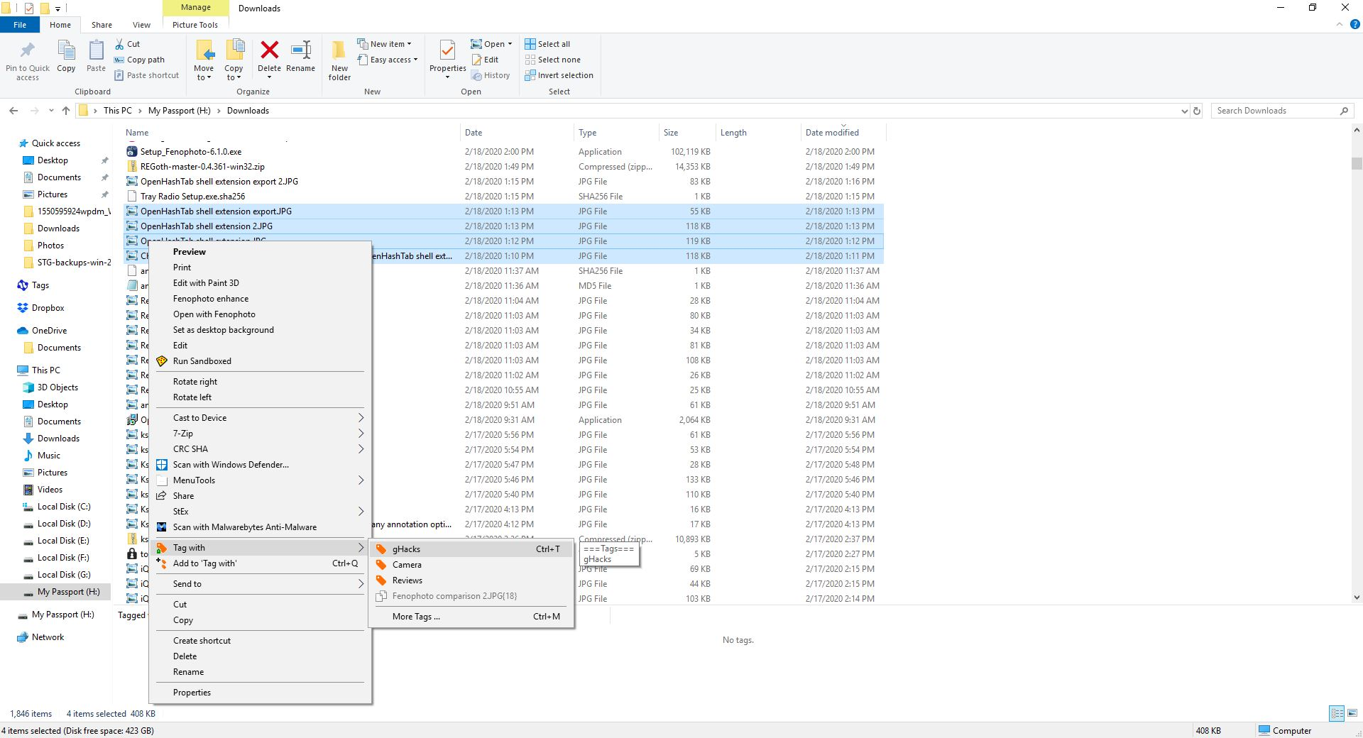 Etiquetado para Windows - menú contextual
