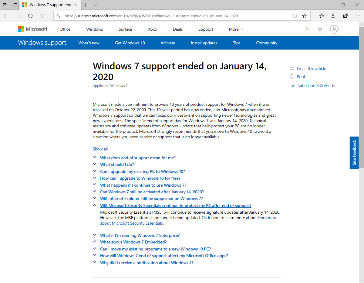Antivirus for Windows 7: support continues
