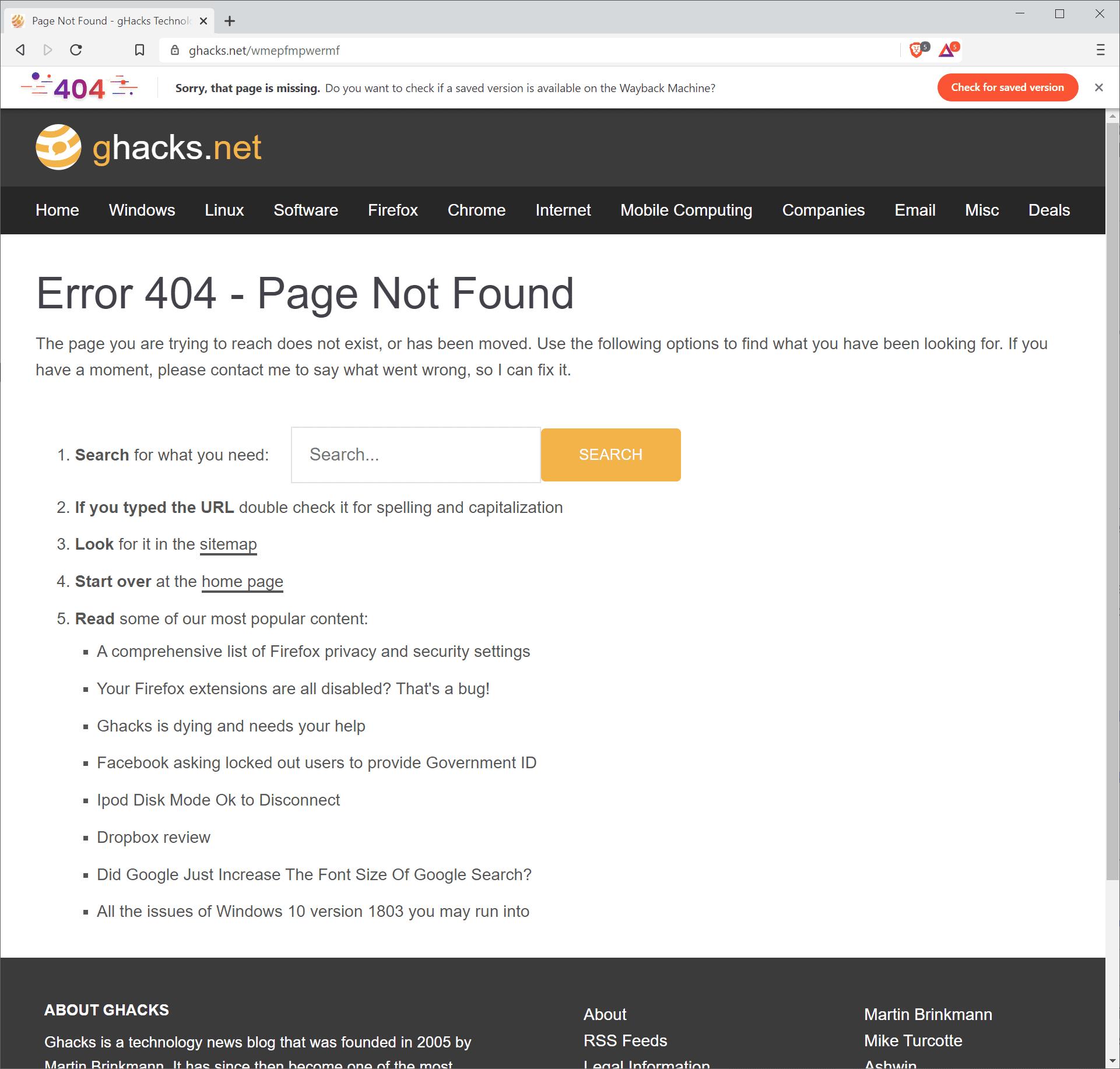 página valiente no encontrada restaurar
