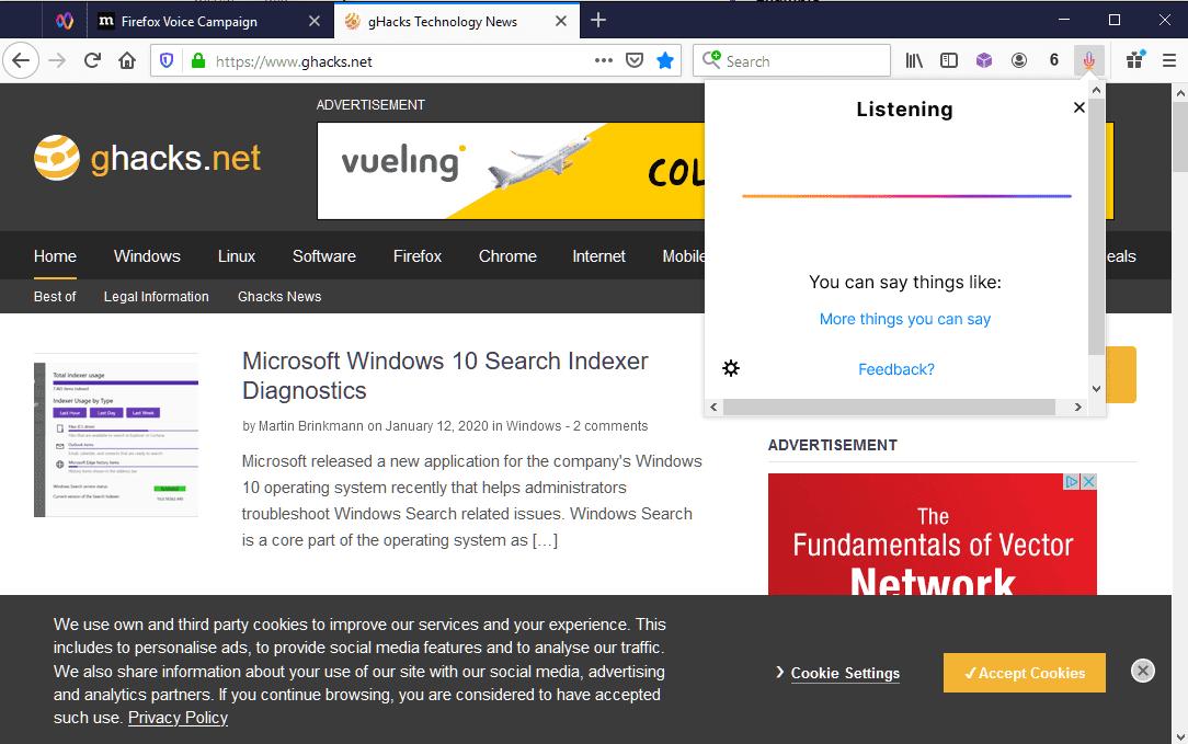 Firefox Voice Beta starts
