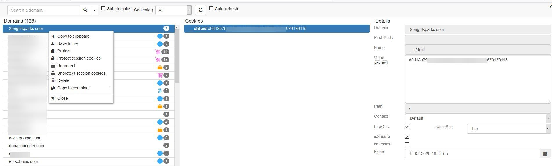 Cookie Quick Manager es una extensión de Firefox que permite buscar, eliminar y proteger cookies específicas de un sitio.