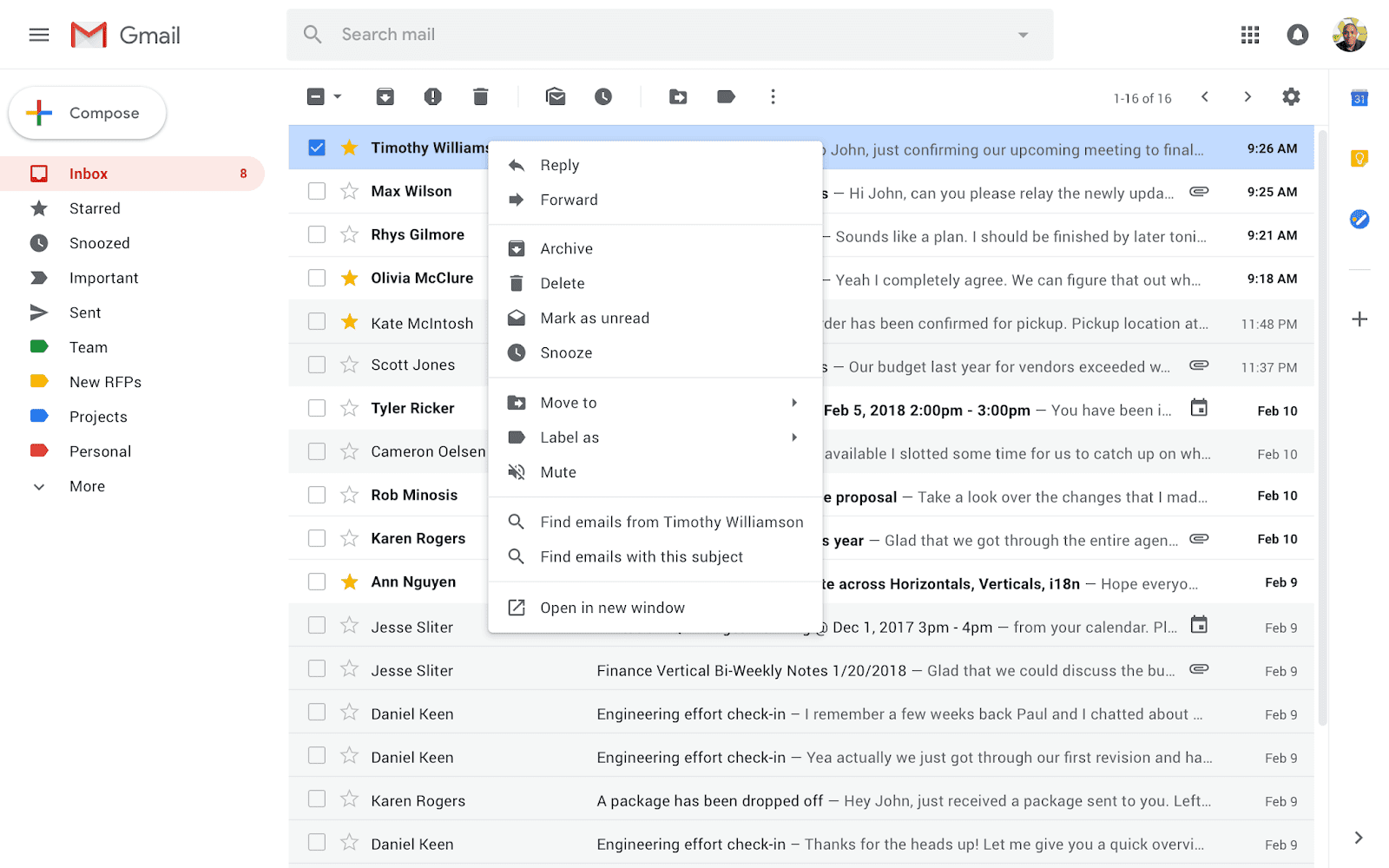 gmail, haga clic con el botón derecho del ratón
