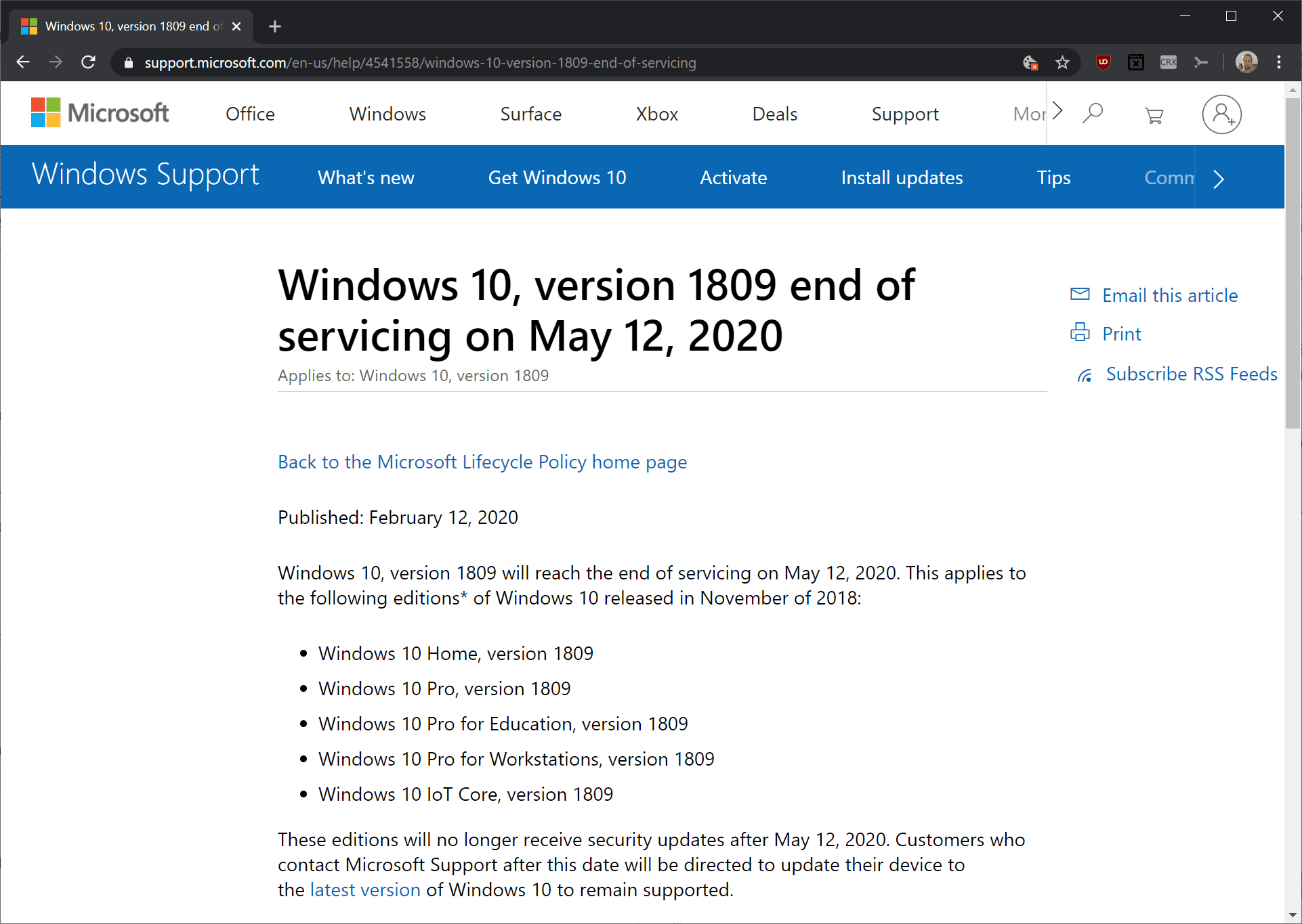windows 10 versión 1809
