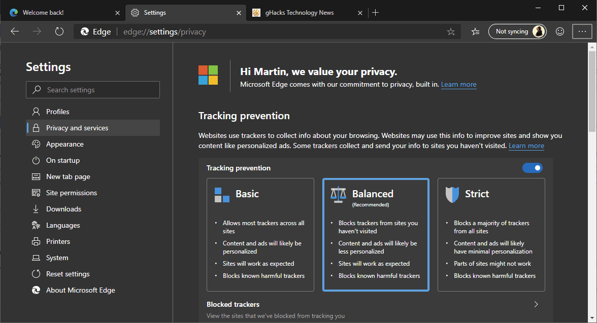 Microsoft improves Tracking Prevention in the new Edge browser