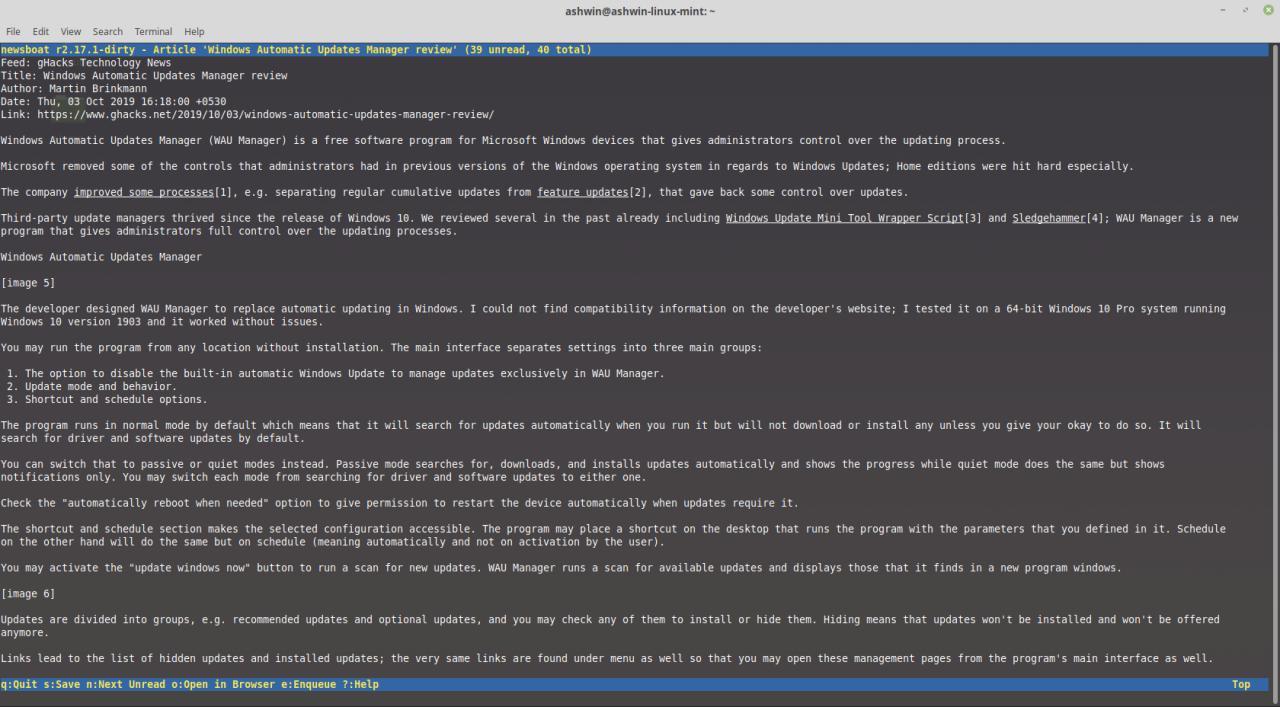 Newsboat es un lector de feeds RSS basado en línea de comandos para Linux