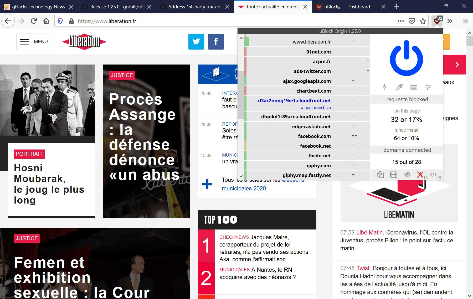 bloqueo del primer partido de Firefox de origen ublock