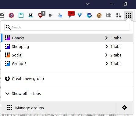 menú de la barra de herramientas de grupos de pestañas simples