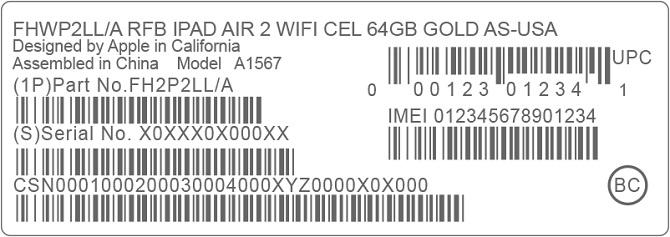 Códigos IMEI de Apple iPad Air 2