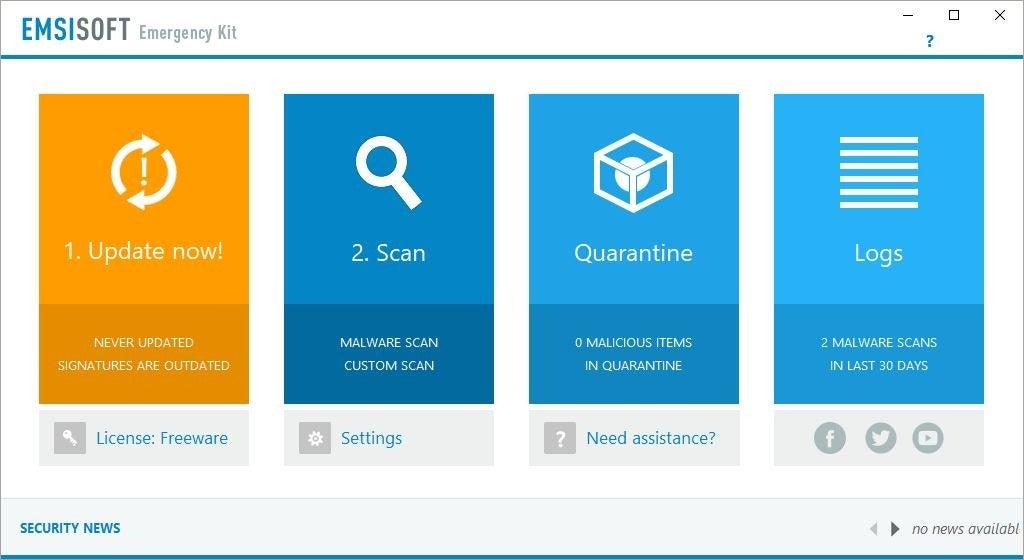 Kit de emergencia Emsisoft interfaz antigua