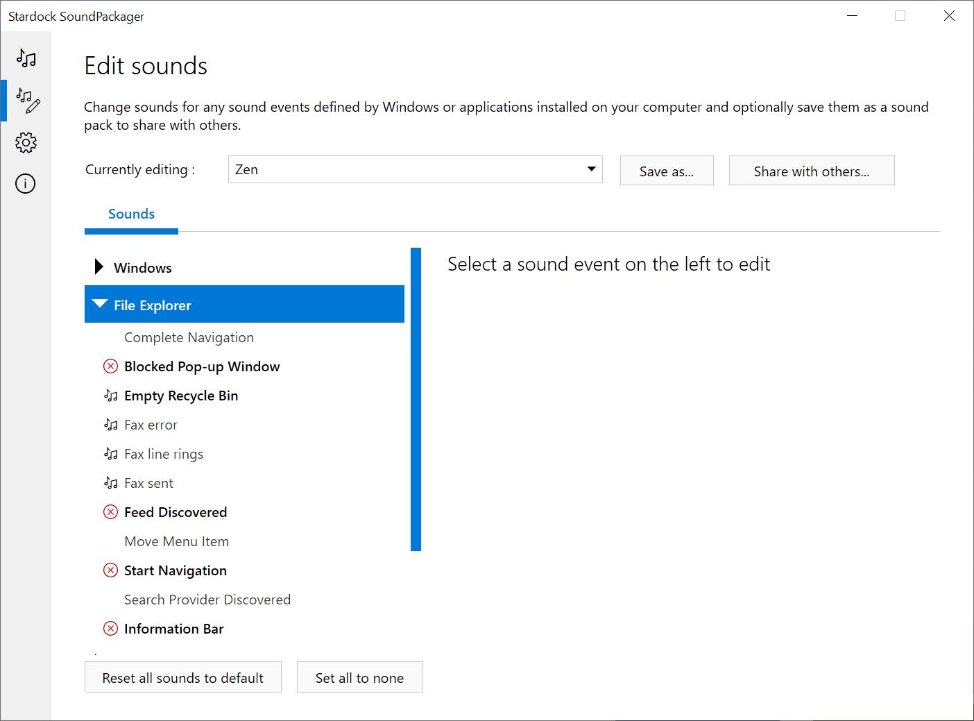 editar ventanas del paquete de sonido
