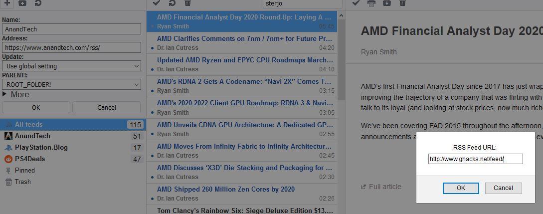 Lector inteligente de RSS agregando un feed