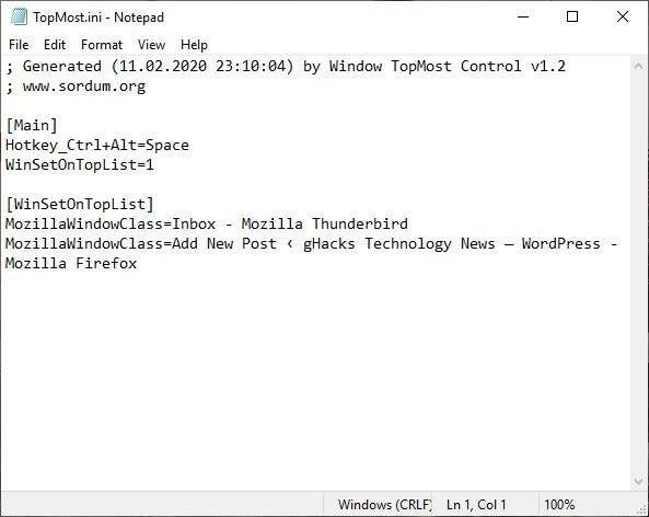 Configuración del control superior de Windows