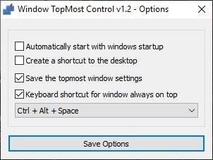 Opciones de control superior de Windows