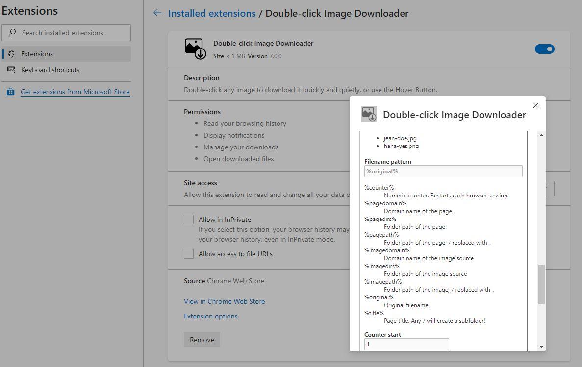 Doble clic en las opciones del descargador de imágenes chrome