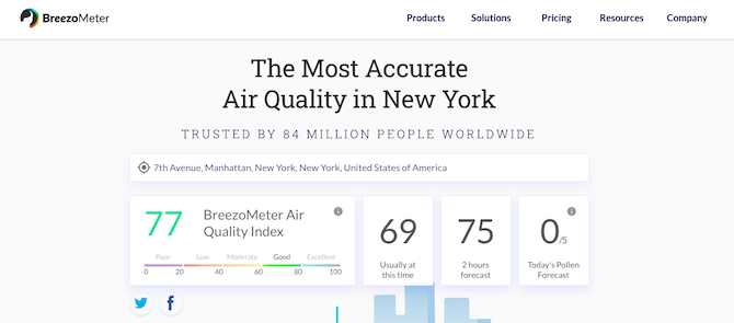comprobar la calidad del aire en el navegador
