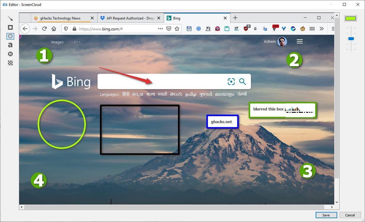 Editor de imágenes ScreenCloud
