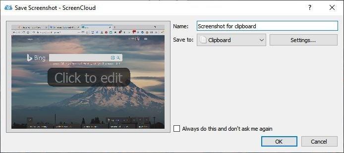 ScreenCloud guarda la captura de pantalla 2