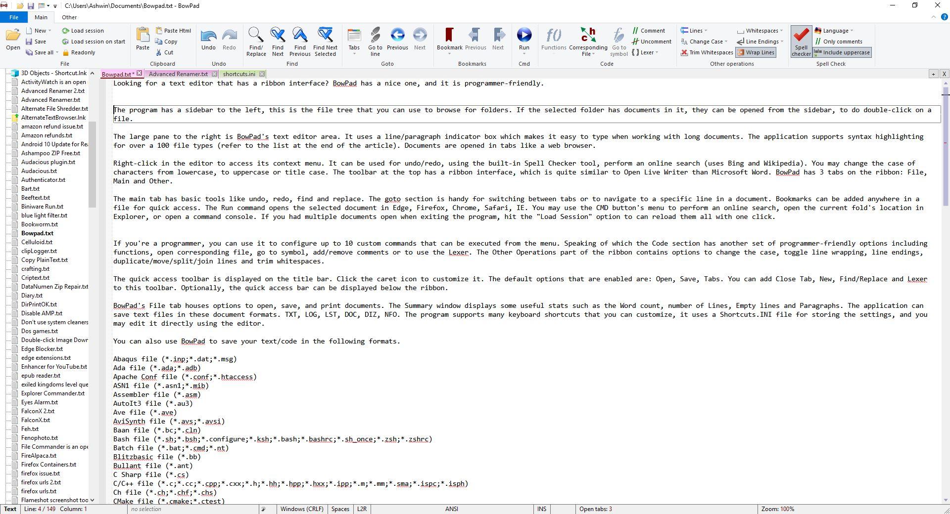 BowPad es un editor de texto de código abierto y fácil de programar con una interfaz de cinta