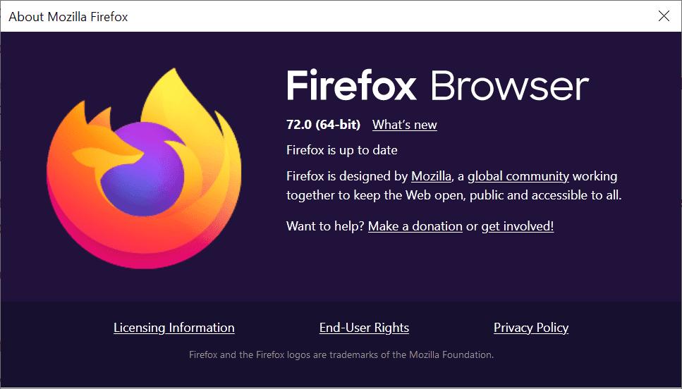 Firefox 72.0 release information