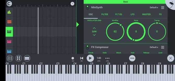 la disposición de la pantalla del FL Studio con la visualización del rollo de piano