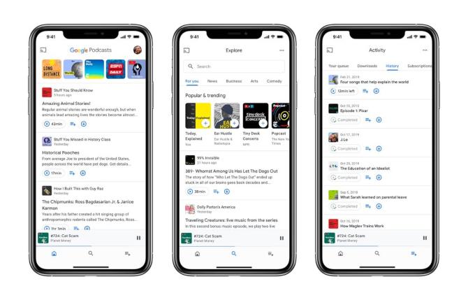 nueva aplicación de Google Podcasts