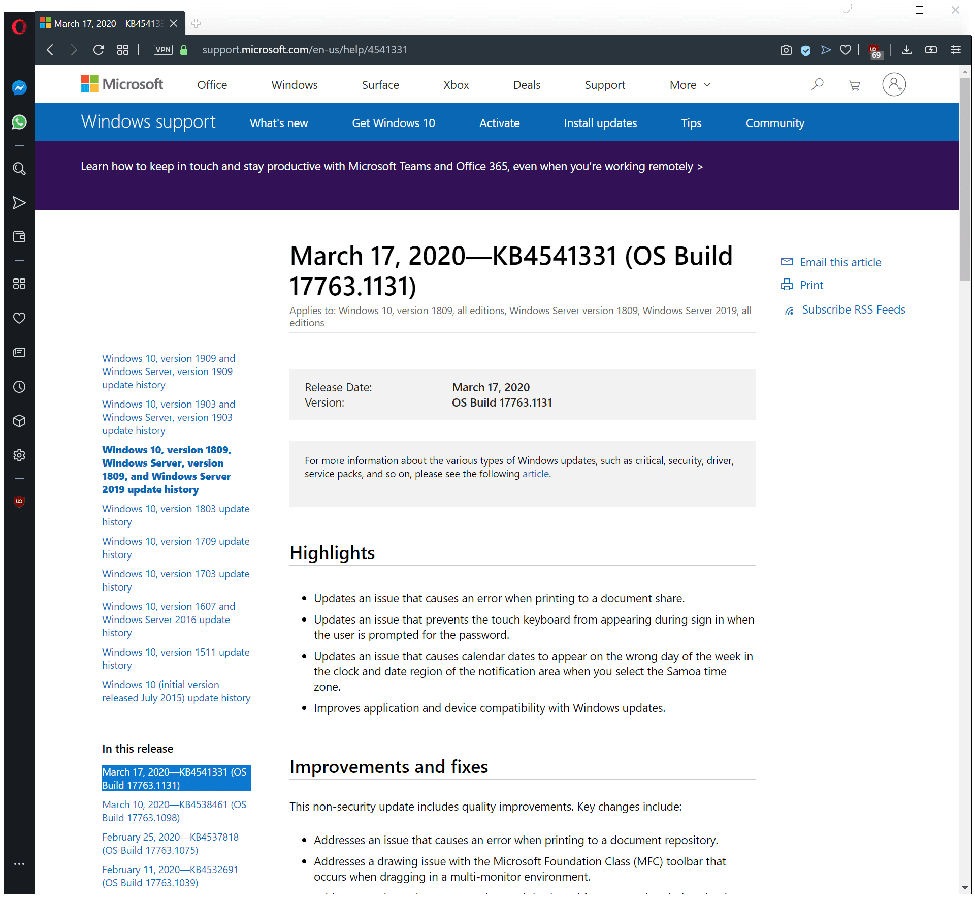 Actualizaciones de Windows 10 KB4541329, KB4541330, KB4541331 y KB4541333