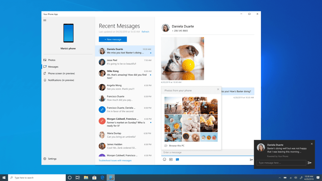 Windows 10 20H1 Preview: Your Phone App gets a massive boost