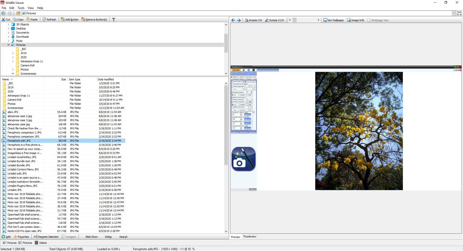 WildBit Viewer es un visor de imágenes gratuito que viene con un editor, un renombrador por lotes, una herramienta de presentación de diapositivas y más
