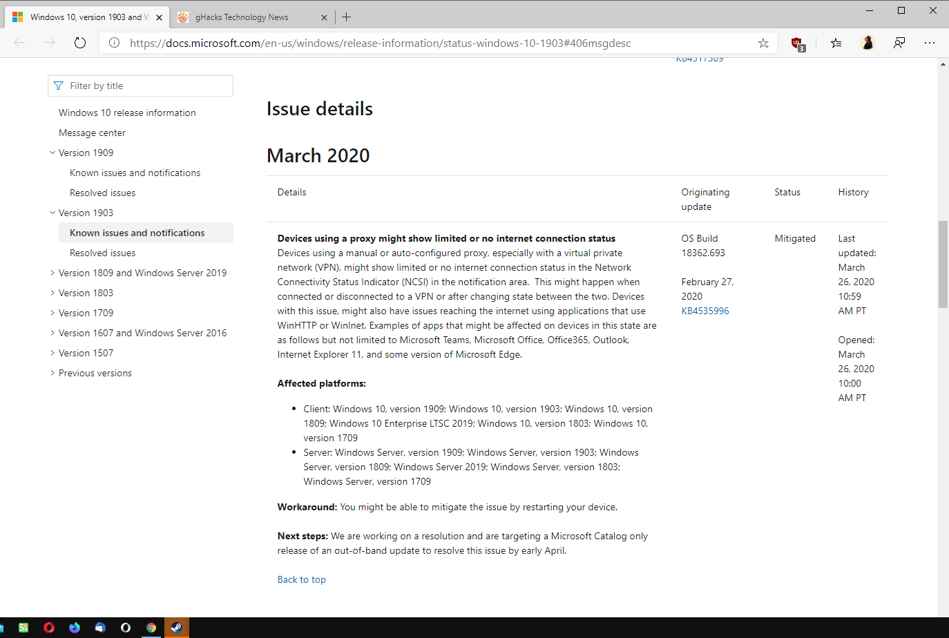 Windows 10 has a new network connectivity issue