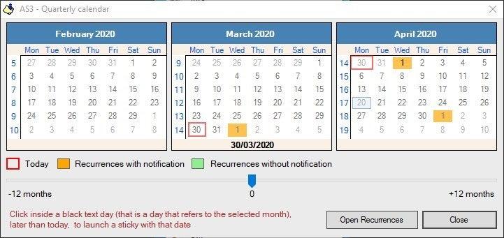 Calendario de la Alarma Stickies 3