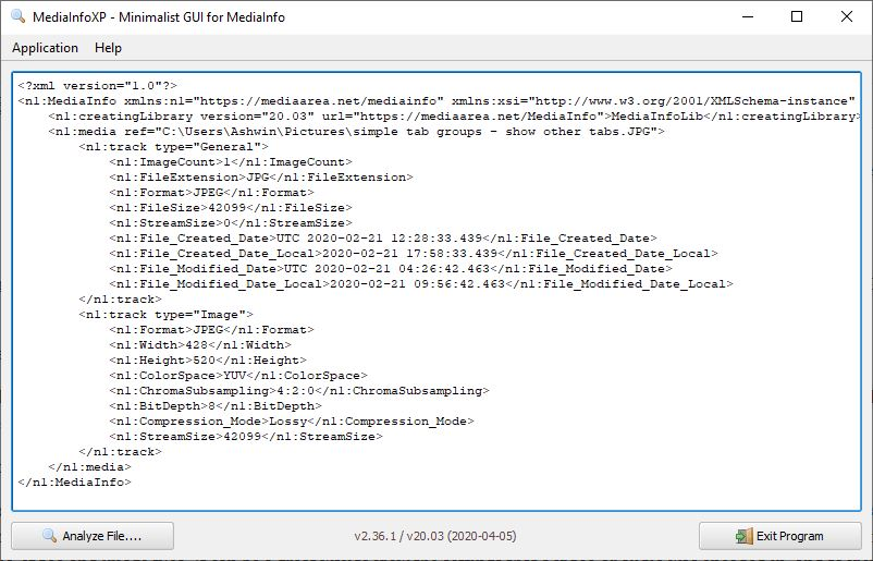 Salida XML de MediaInfoXP