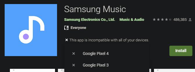 Google Play Samsung Music No disponible