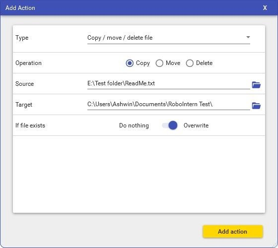 El ejemplo de RoboInterno de copia de tareas de archivo
