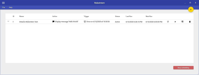 Ejemplo de notificación de tarea de RoboIntern creada