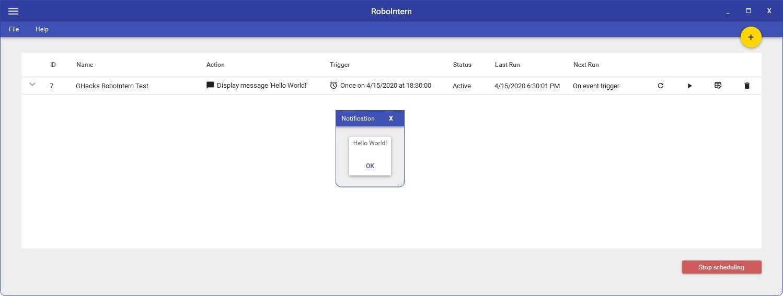 Ejemplo de notificación de tarea de RoboIntern realizada