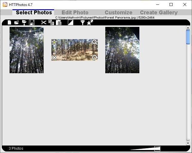 Interfaz de HTTPhotos
