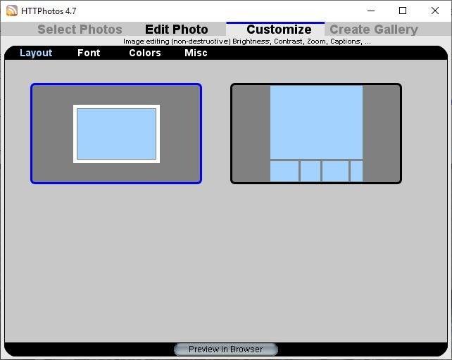 Galería de fotos HTML HTTPhotos personalizar