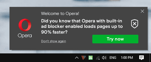 How to turn off Opera promotional notifications on the desktop